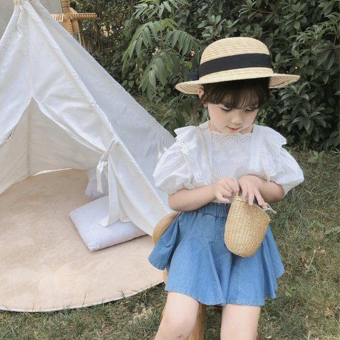 女の子 上品 美しい 上着 スカート 夏 新作 子供服 3-8歳
