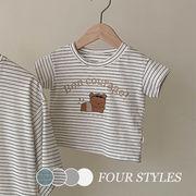 【KID】2021年新作 韓国風子供服 半袖Tシャツ 夏服 ボーダー柄 シンプル系 お熊さん