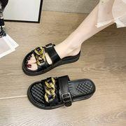 シンプル サンダル 靴 女 アウトドア 年 新しいデザイン 夏 マフィンの底 メタル ス
