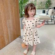 キッズ春夏 3-8歳女の子 ワンピ  シフトドレス ワンピース ドット柄 半袖スカート 韓国風子供服 7-15
