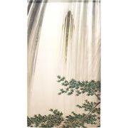 【受注生産のれん】「鈴木松年_瀑布登鯉図」約 幅 85cm × 丈 150cm【日本製】