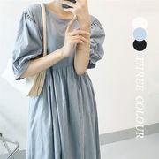 【Women】2021年新作 ロングワンピース 半袖 パフスリーブ 麻 全3色
