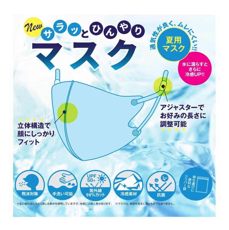 (在庫あり)【夏 マスク】New サラッとひんやりマスク(ライトブルー) SC-2113