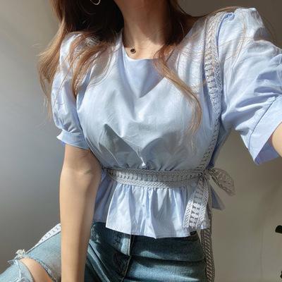 2021年夏新作 レディース 韓国風 シャツ パフスリーブ OL 通勤 気質 ファッション 2色フリー