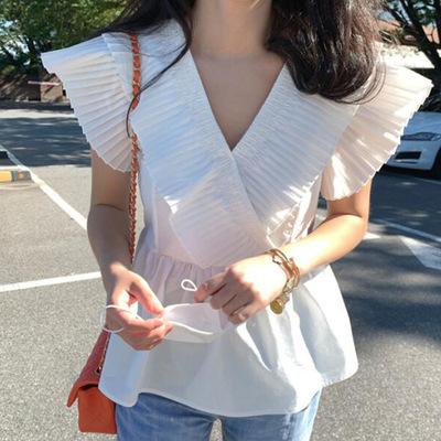 2021年夏新作 レディース 韓国風 シャツ vネック OL 通勤 気質 ファッション フリー