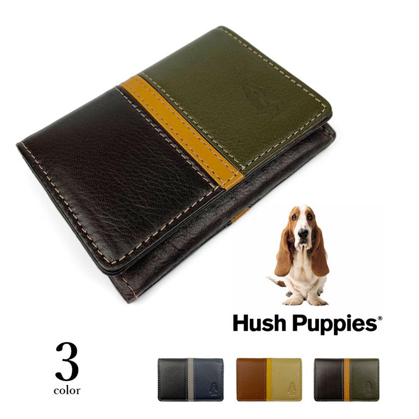 全3色 Hush Puppies ハッシュパピー リアルレザー トリコロールカラー 名刺入れ
