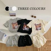 【KID】韓国風子供服  半袖Tシャツ&ショートパンツセット カートゥーン 可愛い