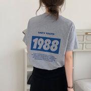 韓国 韓国ファッション カジュアル Tシャツ 半袖 バックプリント シンプル ラウンドネック 春夏
