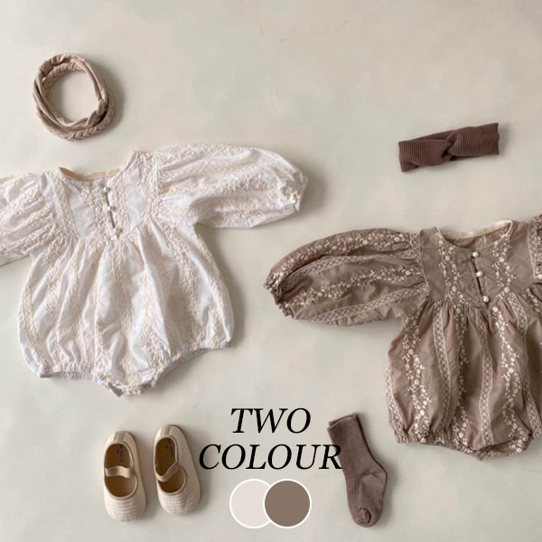 【KID】韓国風子供服  ベビー服 女の子刺繡ロンパース 長袖 可愛い プリンセス