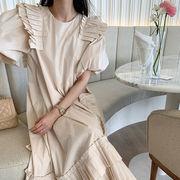 2021年夏新作 レディース 韓国風 ワンピース パフスリーブ 気質 美しい ファッション 3色フリー