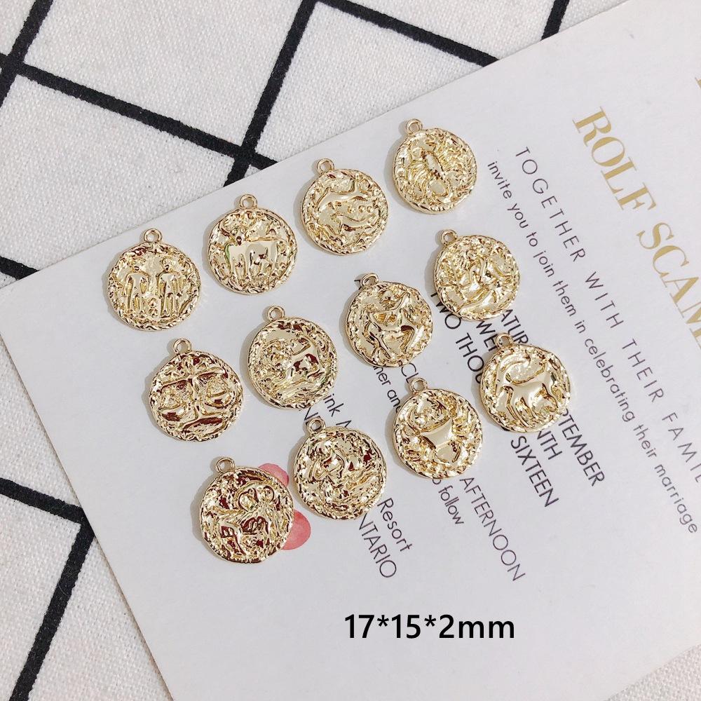 アクセサリーパーツ ハンドメイド 材料 クラフト 手づくり 金貨 硬貨 金具 コイン デコパーツ 12星座 手芸