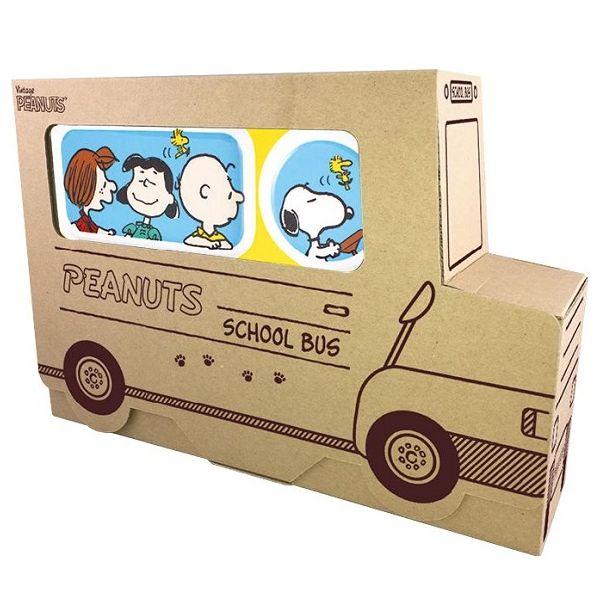 スヌーピーデザインのメラミン製食器セット! PEANUTS SCHOOL BUS GIFT SET(イエロー)
