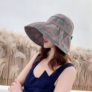 UVカット 帽子 レディース 日よけ 紫外線対策 折りたたみ チェック柄 つば広 uv 熱中症 春 夏