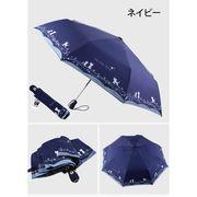 日傘 自動開閉 折りたたみ 晴雨兼用 UVカット レディース メンズ かわいい 猫柄