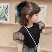 2021年夏新作 子供服 キッズ ベビー服 韓国風 シャツ パフスリーブ 女の子 半袖 2色90-130