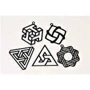 【銅製高品質&黒鍍金】 透かしパーツ /幾何メタル/立体効果幾何パーツ/トレンドパーツ