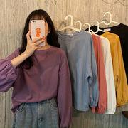韓国風レディース服 トップス 無地Tシャツ 長袖Tシャツ インナーシャツ