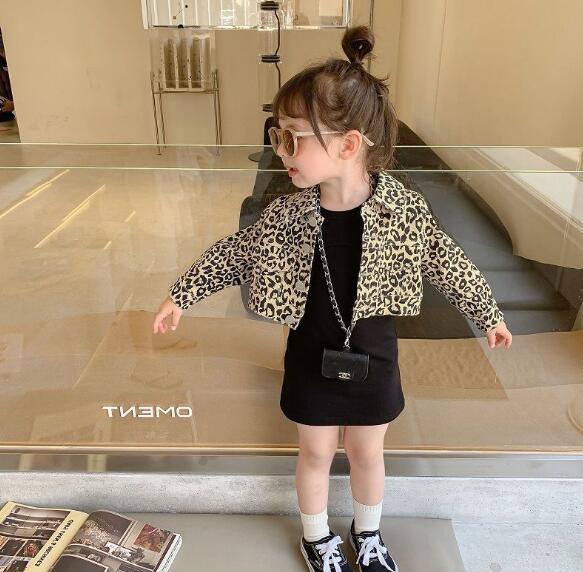 豹柄2点セット 春秋 子供服 キッズ ニットワンピース+長袖コート  韓国ファッション カジュアル系
