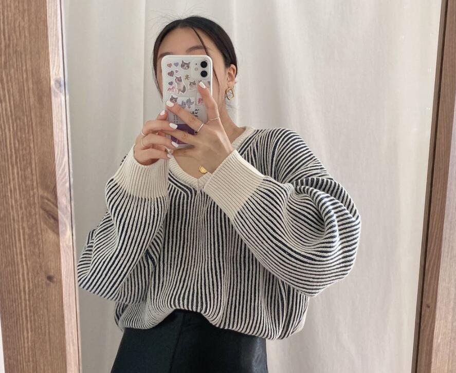 2021年秋新作 レディース 韓国風 セーター vネック ニット 通勤 気質 上品 おしゃれ 2色フリー