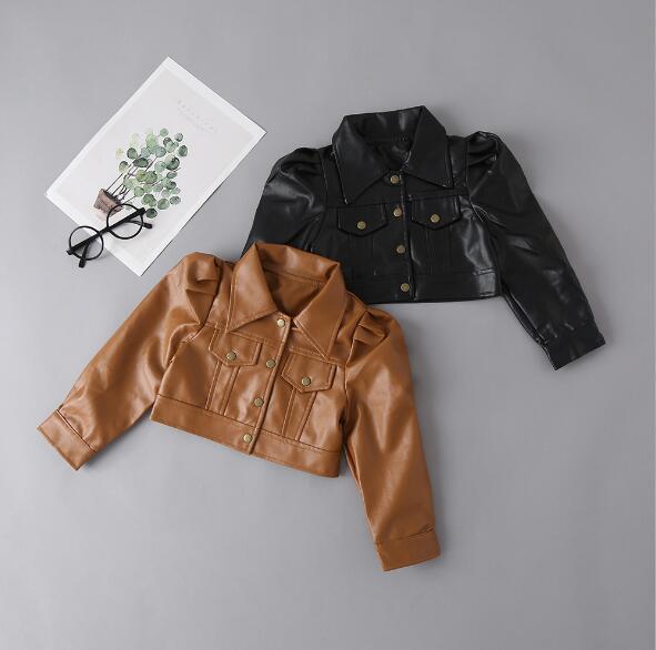 春秋ジャケット キッズ 普段着 長袖 ハンサム子供コート 日常用 PU 人造皮革 女の子 ファッション