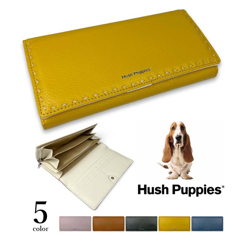 全5色 Hush Puppies ハッシュパピー リアルレザー ステッチデザイン かぶせ 長財布 ロングウォレット