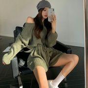 心 機 ホットな女の子 オープンバックセーター シャムズボン 女 秋 ファッション 設計