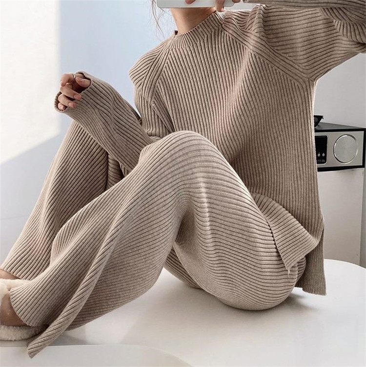 トレンド感をマーク ニット 暖かい ピュアカラー 2点セット 怠惰な風 気質 大人気 カジュアル 長袖