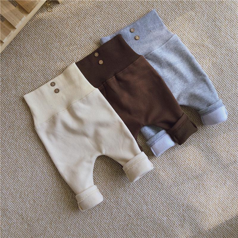 2021秋冬新作 韓国子供服 裏起毛厚手ハイウエストパンツ 大人気 女の子 男の子3色