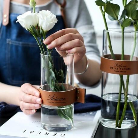 レザーガラス フラワーベース ロング 花瓶 23cm×9cm 17cm×7.5cm