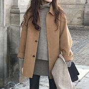 ダブルウールのコート2021秋と冬の新しい韓国の新しい韓国の厚い厚いホーベネの後日のコート