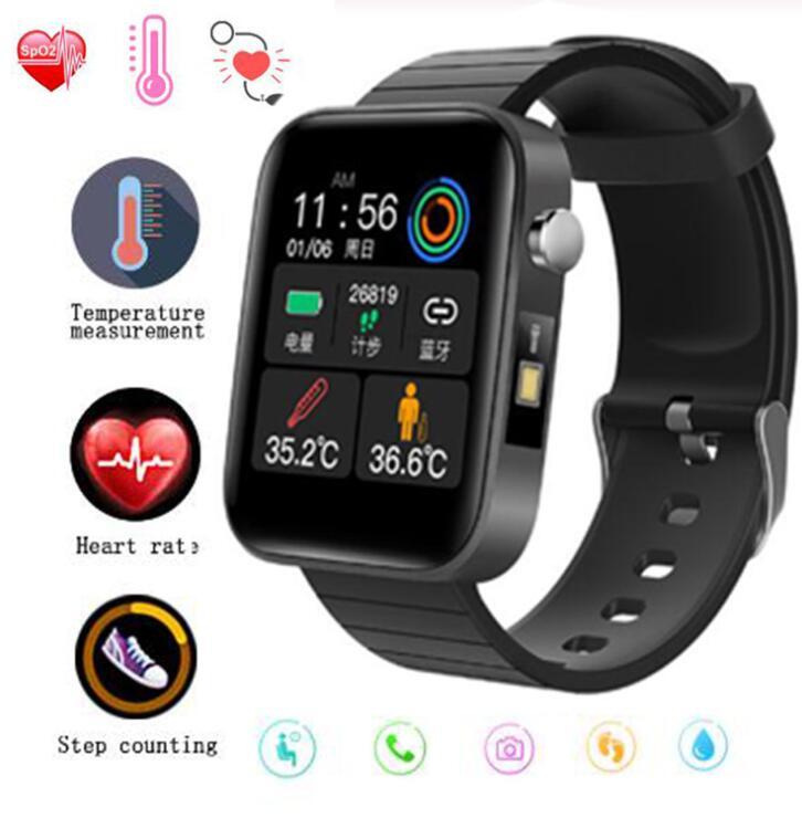 スマートウォッチ 24時間体温監視 腕時計 ブレスレット 血圧計 心拍  IP67防水