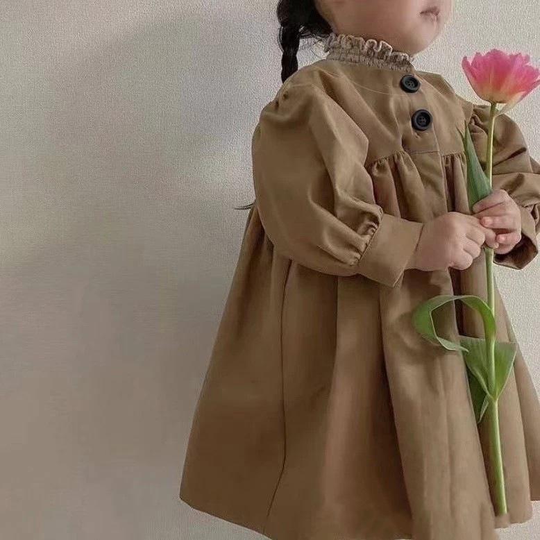 【KID】韓国風子供服 ベビー服  女の子 長袖 コート トップス パフスリーブ