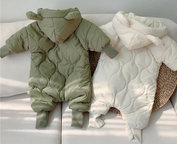 かわいい くま耳フード付き ベビー ジャンプスーツ 冬着 赤ちゃん