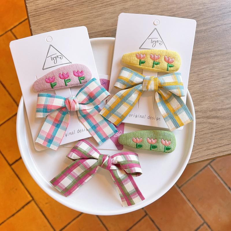 ヘアアクセサリー ヘアピン ヘア飾り 髪飾り キッズ 子ども 秋冬 刺繍 チェック カジュアル