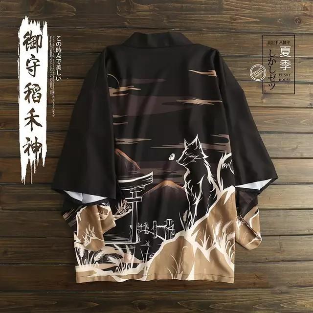 狼 オオカミ 送料無料 羽織り はっぴ 法被 半纏 はんてん ハッピ 長半纏 半天 袢天 半被