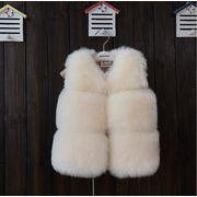 秋冬 子供服 人造毛皮ベスト コート ふわふわ 厚手 暖かい ファッション 6色