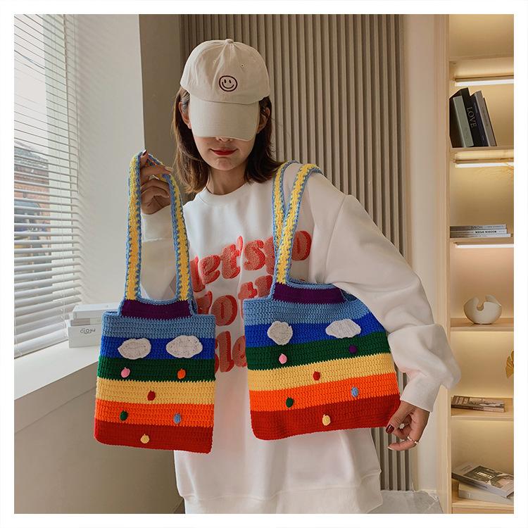 バッグ 鞄 カバン 斜め掛け 子ども キッズ 秋冬 虹 かわいい おしゃれ 人気