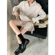 魅力を増すコツ 韓国ファッション Vネック スリム シャツワンピ セット ニット ベスト ストライプ