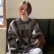 【Women】2021年新作 韓国風レディース服 トップス ニット セーター 丸首 チェック柄