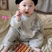 韓国 秋冬新作 ins 子供服 赤ちゃん 落書きアニメキャラクターヘッド ガード パンツ セット