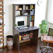 パソコンデスク 83幅 書棚付き ダークブラウン 学習机 書斎机